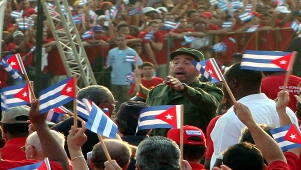 Castro amid cheering crowds in 2005.