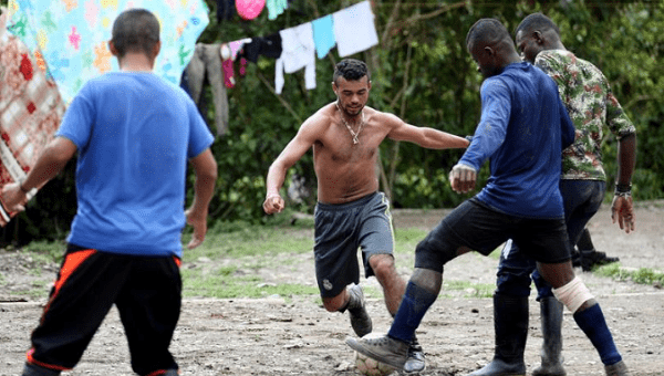 Former FARC rebels from the Alfonso Cano Block play soccer in los Robles, in the mountains of the province of El Cauca. FILE