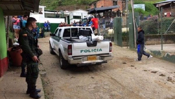 A few meters from the Santa Lucia school in Ituango in Colombia, Jesus Adan Mazo was assassinated.