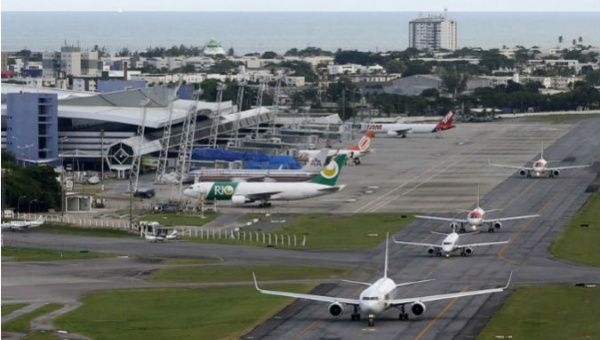 An aerial view of the International Airport of Recife, Brazil.