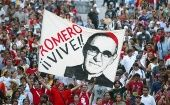 Supporters of slain Archbishop Oscar Romero in San Salvador.