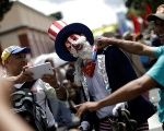 Supporters of Venezuelan President Nicolas Maduro attend a rally against U.S. President Donald Trump in Caracas.
