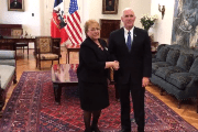 Chilean President Michelle Bachelet and U.S. Vice President Mike Pence in Santiago.