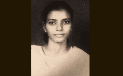 A young Sujatha during her activism days in India.
