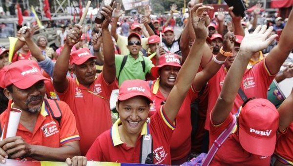 Chavistas march in support of Venezuelan President Nicolas Maduro.