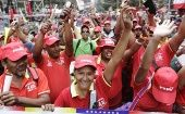 Chavistas march in support of Venezuelan President Nicolas Maduro.