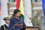 Bolivia's President Evo Morales speaks during national flag commemorations in La Paz, Bolivia, August 17, 2017.