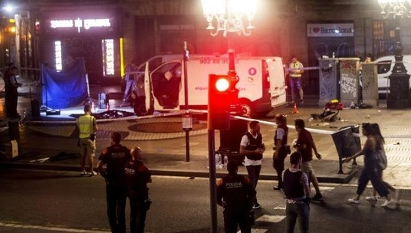 Night scene showing the van which plowed into pedestrians in the busy Spanish street, Barcelona, Spain, August 17, 2017