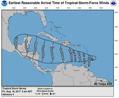 Según el NHC Harvey presenta vientos máximos sostenidos de 40 millas por hora (65 km/h) que podrían intensificarse en su paso por el Caribe.