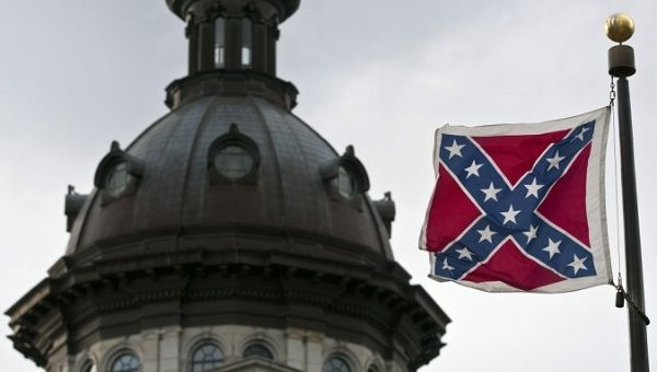 A Confederate flag flies on South Carolina Statehouse grounds in Columbia, South Carolina.