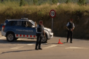 Police direct traffic in Subirats, near Barcelona.