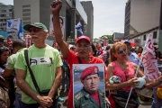 Chavistas march in support of the government in Venezuela.