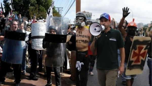 Charlottesville neo-Nazi rioters (left) and Venezuelan right-wing opposition protesters (right).