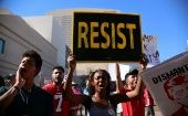 Anti-Trump protesters gather in Phoenix, Arizona to show their opposition
