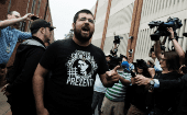 White nationalist leader Matthew Heimbach outside Charlottesville General Courthouse shouts in defense of James Alex Fields Jr., arrested over the death of the protester at the August 12 rally