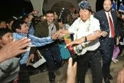 Well-wishers greet Bolivia's President Evo Morales.