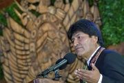 President Evo Morales speaks during a ceremony in Cobija, Pando, Bolivia, August 6, 2017.