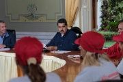 Venezuela's President Nicolas Maduro speaks during a meeting at Miraflores Palace in Caracas.