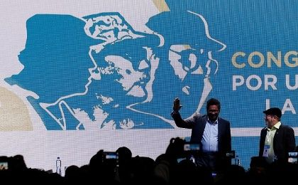 FARC leaders Ivan Marquez and Timochenko during the opening of the group's historic congress in Bogota, Colombia.