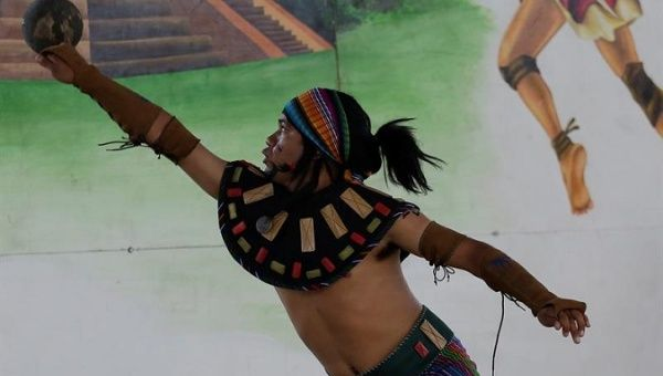 A player takes part in the First Festival of the Mayan Ballgame in Guazapa, August 26