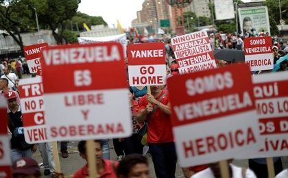 Venezuelans come out against U.S. intervention in their country.