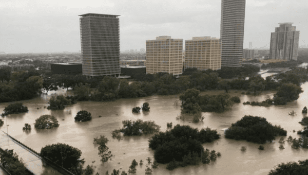 Flooded downtown seen from a high rise along Buffalo Bayou after Hurricane Harvey caused widespread flooding, in Houston, August 27