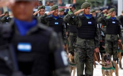 Honduran military police at a ceremony in Tegucigalpa, Honduras.
