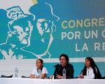 FARC leader Pastor Alape (C) during a press conference at the movement's Congress.