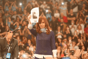 Cristina Fernandez de Kirchner holds up a photo of Santiago Maldonado at a rally in La Plata, Argentina, August 30, 2017