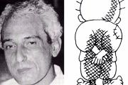 Naji Salim Hussain al-Ali (L) and his most iconic cartoon, of a refugee Palestinian boy, Handala (R).