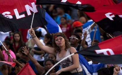 Supporters of the Sandinista government in Nicaragua.