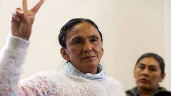 Milagro Sala during  one of her court appearances.