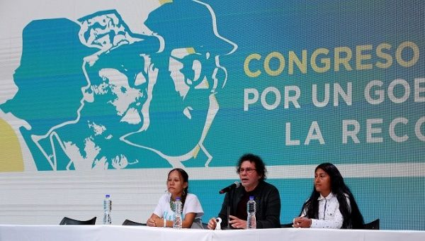 FARC members Mariana Zambrano, Pastor Alape and Sandra Milena Pulido address the Congress, Bogota, Colombia, August 27, 2017