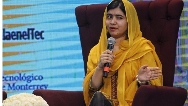 Malala during a conference with students of the Technological Institute of Monterrey in Mexico City