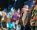 Timochenko (second on right) joins a blessing ceremony for the new party performed by Indigenous and Raizales people, Plaza de Bolivar, Bogota, Colombia, September 1, 2017