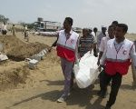 Yemeni Red Crescent volunteers at work.