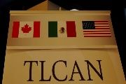 A NAFTA banner is pictured where the second round of NAFTA talks involving the United States, Mexico and Canada is taking place in Mexico City.