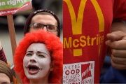 Protestors demonstrate in support of  Mcdonalds workers in London.