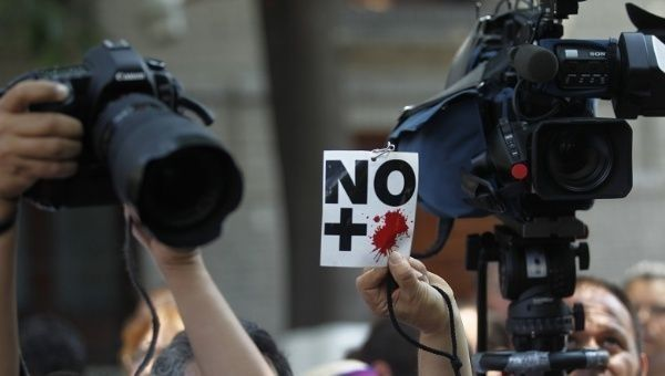Journalists at a previous protest against attacks on their colleagues in Mexico City.