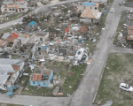 Aerial view of one of the areas in Barbuda damaged by Hurricane Irma
