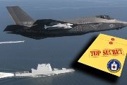 The missile control technology revealed by WikiLeaks is used in such fifth-generation strike fighters as the F-35 Lightning II Carrier Variant, seen here flying over the stealth guided-missile destroyer USS Zumwalt.