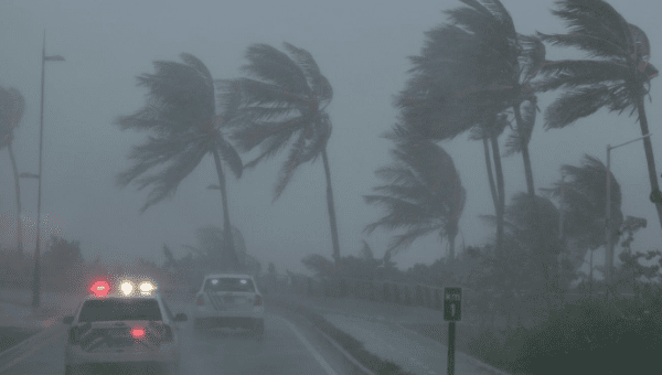 Police patrol the area as Hurricane Irma slams across islands in the northern Caribbean on Wednesday, in San Juan, Puerto Rico September 6, 2017