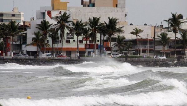 Waves break over the sea wall ahead of Hurricane Katia in Veracruz, Mexico, September 7, 2017.