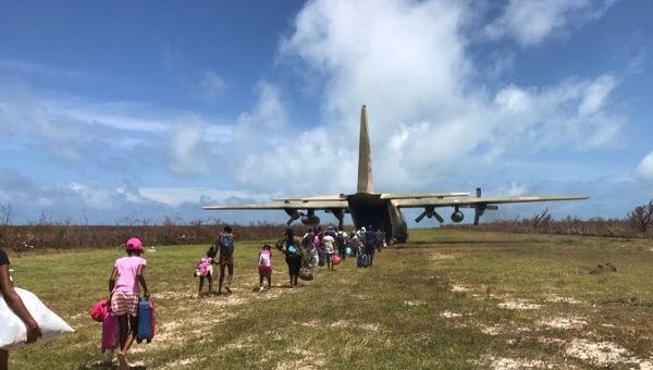 A Venezuelan plane helps residents to leave Barbuda