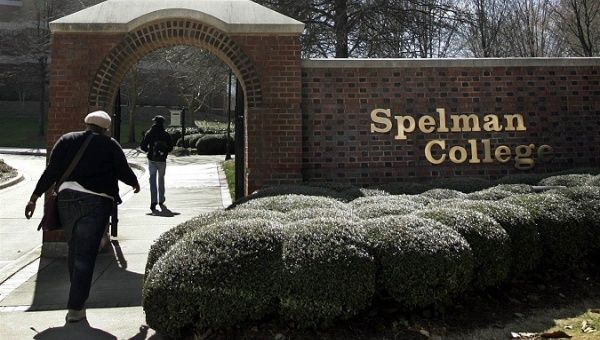 Students walk through the entrance to Spelman College in Atlanta, Georgia.