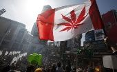 A man waves a marijuana leaf flag during 2010's 4/20 rally in Toronto.