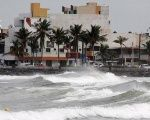 Waves batter the coast of Veracruz, Mexico on September 7th as Hurricane Katia approaches.