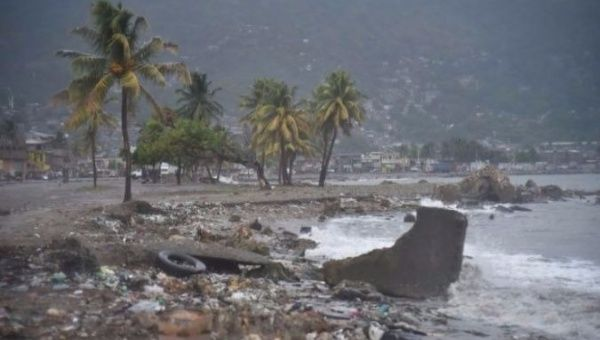 Debris washes up on a beach in Cap-Haitien, Haiti as Hurricane Irma approaches.