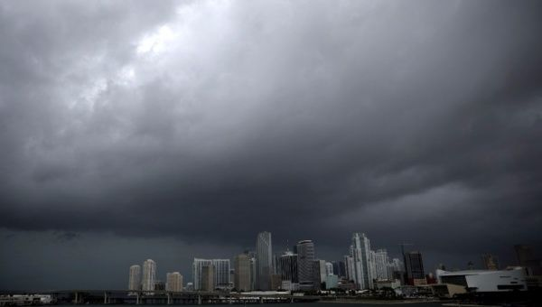 Dark clouds are seen over Miami