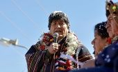 The Bolivian President Evo Morales speaks during a ceremony in Potosi, Bolivia.